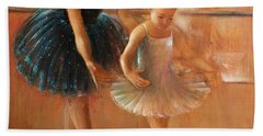 ballet lesson-painting on leather by Vali Irina Ciobanu  Beach Towel