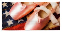 Ballet Shoes And American Flag Beach Towel