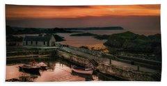 Ballintoy Harbour Sunset Beach Towel
