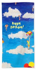 Balloon Girls Birthday Greeting Card Beach Towel