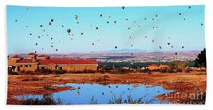Balloon Reflections Beach Sheet by Gina Savage