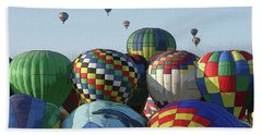 Balloon Traffic Jam Beach Towel by Marie Leslie