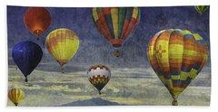 Balloons Over Sister Mountains Beach Sheet