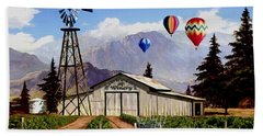 Balloons Over The Winery 1 Beach Towel by Ron Chambers
