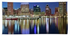 Baltimore Blue Hour Beach Towel by Frozen in Time Fine Art Photography