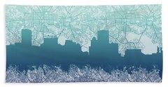 Baltimore City Skyline Map 2 Beach Towel