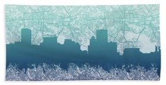 Beach Sheet featuring the painting Baltimore City Skyline Map 2 by Bekim Art