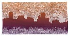 Baltimore City Skyline Map Beach Towel