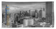 Beach Towel featuring the photograph Baltimore Landscape - Bromo Seltzer Arts Tower by Marianna Mills