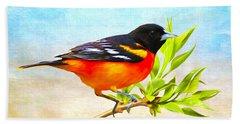 Baltimore Oriole Bird Beach Towel