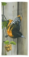 Beach Towel featuring the painting Baltimore Oriole by Mike Brown