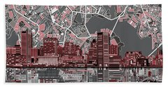 Baltimore Skyline Abstract Beach Towel by Bekim Art