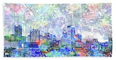 Beach Towel featuring the painting Baltimore Skyline Watercolor 10 by Bekim Art