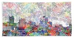 Baltimore Skyline Watercolor 11 Beach Towel