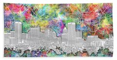 Beach Sheet featuring the painting Baltimore Skyline Watercolor 12 by Bekim Art