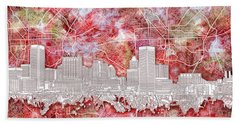 Beach Sheet featuring the painting Baltimore Skyline Watercolor 13 by Bekim Art
