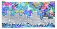 Baltimore Skyline Watercolor 14 Beach Towel