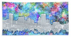 Beach Sheet featuring the painting Baltimore Skyline Watercolor 14 by Bekim Art