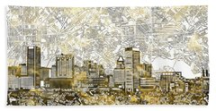 Beach Towel featuring the painting Baltimore Skyline Watercolor 8 by Bekim Art