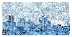Baltimore Skyline Watercolor 9 Beach Towel