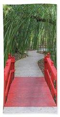 Bamboo Path Through A Red Bridge Beach Sheet