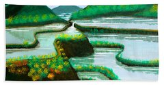 Beach Towel featuring the painting Banaue by Cyril Maza