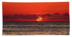 Band Of Clouds At Sunrise Beach Towel by Allan Levin