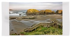 Bandon Beach Stairway Beach Sheet by Thom Zehrfeld