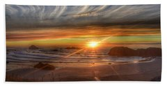 Beach Towel featuring the photograph Bandon Sunset by Bonnie Bruno