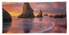 Beach Towel featuring the photograph Bandon's New Years Eve Light Show by Darren White