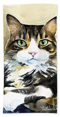 Bandu - Long Haired Calico Cat Painting Beach Towel