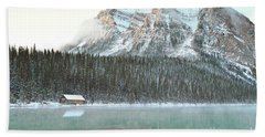 Beach Sheet featuring the photograph Banff Canada Lake Louise Cabin Landscape by Andrea Hazel Ihlefeld