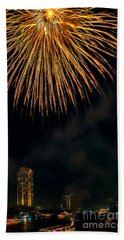 Bangkok Fireworks Beach Towel