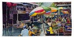 Bangkok's Floating Market Beach Towel