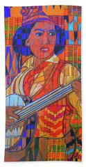 Beach Towel featuring the painting Banjo-five Strings by Denise Weaver Ross