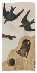 Bank Swallows Beach Towel by John James Audubon