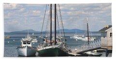 Bar Harbor Waterfront And Boats Beach Sheet