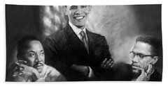 Barack Obama Martin Luther King Jr And Malcolm X Beach Towel by Ylli Haruni