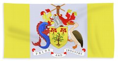 Beach Towel featuring the drawing Barbados Coat Of Arms by Movie Poster Prints