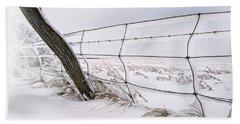 Barbed Wire And Hoar Frost Beach Towel by Dan Jurak