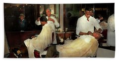 Beach Towel featuring the photograph Barber - A Time Honored Tradition 1941 by Mike Savad