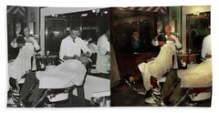 Beach Towel featuring the photograph Barber - A Time Honored Tradition 1941 - Side By Side by Mike Savad