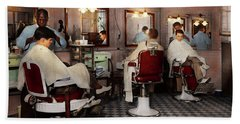 Beach Towel featuring the photograph Barber - Senators-only Barbershop 1937 by Mike Savad