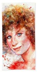 Barbra Streisand Portrait Beach Towel