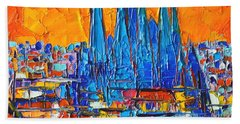 Barcelona Abstract Cityscape 7 - Sagrada Familia Beach Sheet by Ana Maria Edulescu