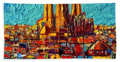 Barcelona Abstract Cityscape - Sagrada Familia Beach Sheet by Ana Maria Edulescu