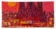 Barcelona Moon Over Sagrada Familia - Palette Knife Oil Painting By Ana Maria Edulescu Beach Towel