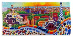 Barcelona Sunrise Colors From Park Guell Modern Impressionism Knife Oil Painting Ana Maria Edulescu Beach Towel