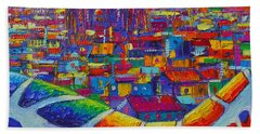 Barcelona View Sagrada From Park Guell Impressionist Abstract City Knife Painting Ana Maria Edulescu Beach Towel