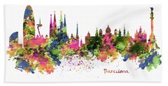 Barcelona Watercolor Skyline Beach Towel
